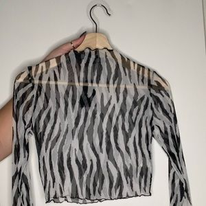 Forever 21 Mesh Zebra Longsleeve Mock Turtleneck
